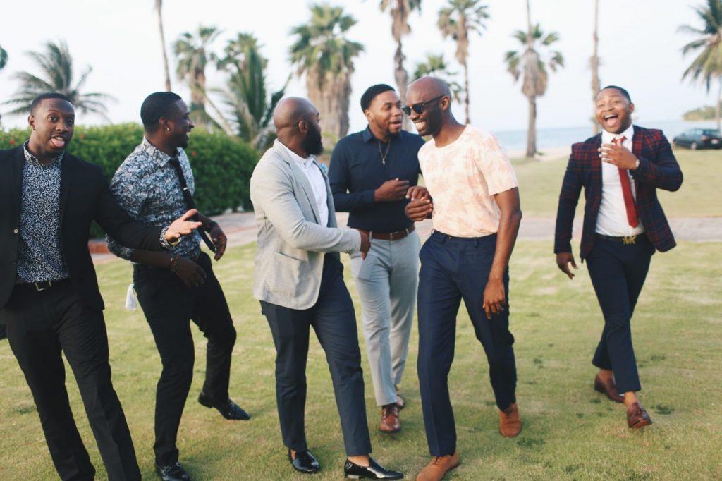 men laughing fashion